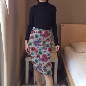 Zara vertical stripe floral stretch skirt.